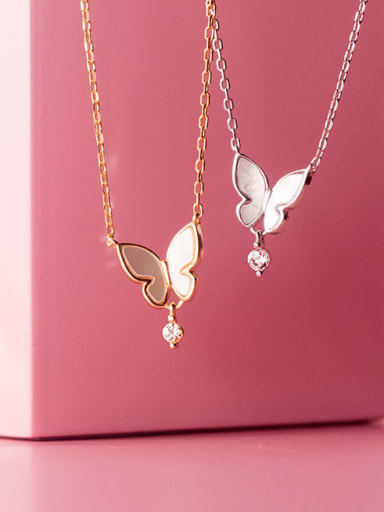 925 Sterling Silver Shell Butterfly Minimalist Necklace