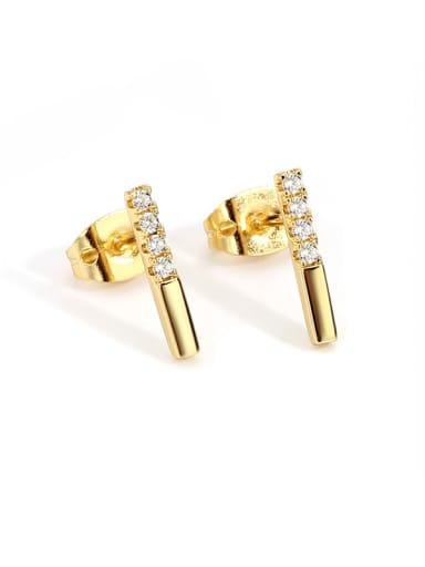 Brass Cubic Zirconia Geometric Minimalist Stud Earring
