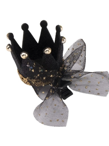 2 black crown black mesh bow hairpin Alloy  Leather Cute CrownMulti Color Hair Barrette