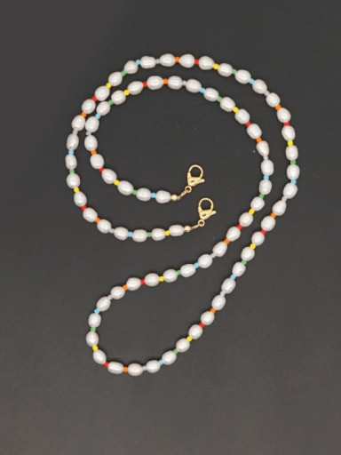 Stainless steel Imitation Pearl Multi Color  Bohemia Hand-woven Necklace