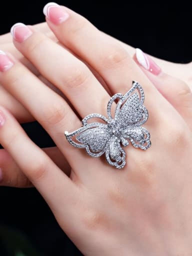 Brass Cubic Zirconia Butterfly Luxury Band Ring