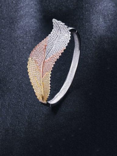 Brass Cubic Zirconia Leaf Luxury Band Bangle