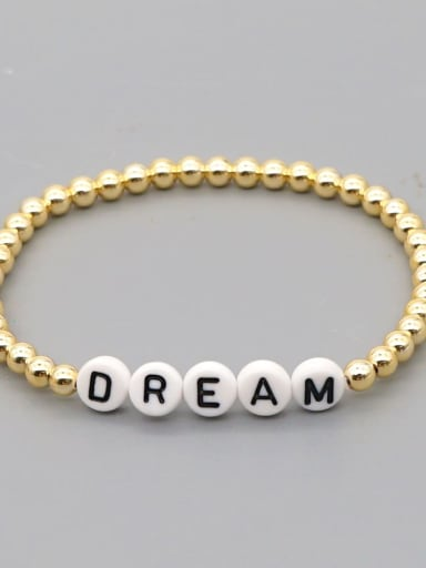 QT B200015O Stainless steel MGB  Bead Multi Color Letter Bohemia Stretch Bracelet