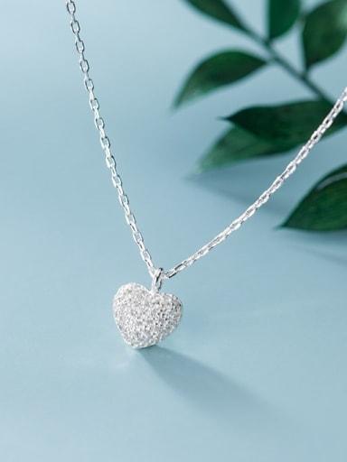 925 Sterling Silver Minimalist  Simple Fashion Full Diamond Heart Pendant Necklace