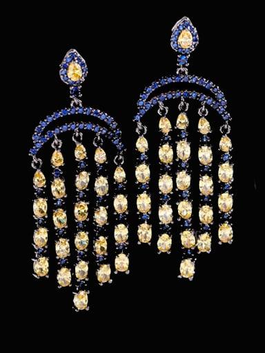 yellow Brass Cubic Zirconia Tassel Luxury Cluster Earring