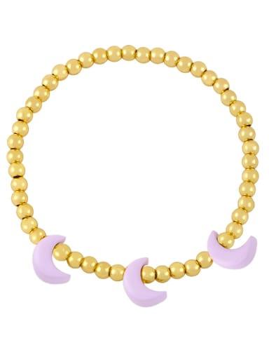 purple Brass Enamel Moon Minimalist Beaded Bracelet