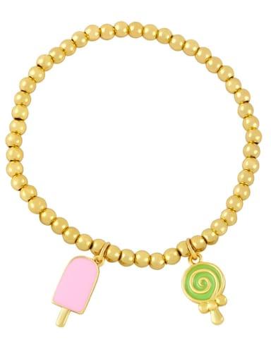 Pink Green Brass Enamel Heart Vintage Beaded Bracelet