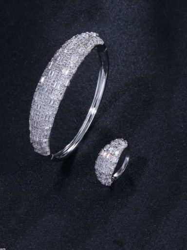 Platinum  US 7 Brass Cubic Zirconia Luxury Geometric  Ring and Bangle Set