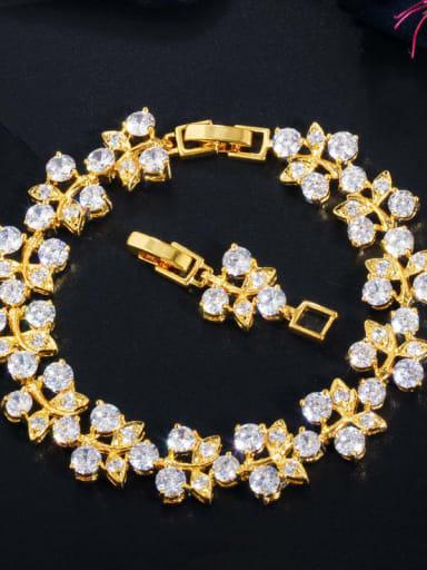 white Copper Cubic Zirconia Leaf Luxury Bracelet
