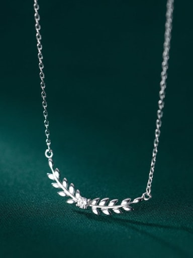 925 Sterling Silver Cubic Zirconia Leaf Minimalist Necklace
