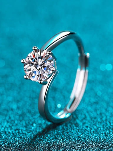 Sterling Silver Moissanite Round Dainty Solitaire Engagement Rings