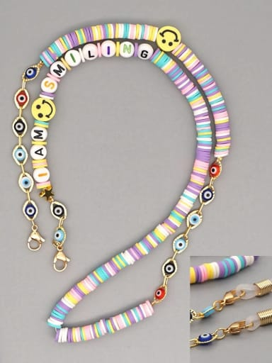 RT N200007B Stainless steel Bead Multi Color Polymer Clay Letter Bohemia Hand-woven Necklace