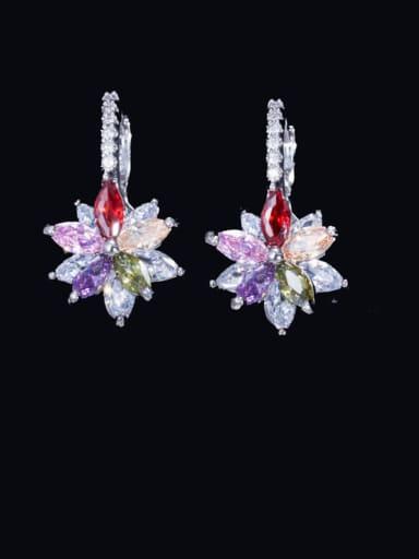 colour Brass Cubic Zirconia Flower Luxury Huggie Earring