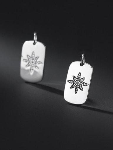925 Sterling Silver Rhinestone Minimalist  Geometric  Pendant