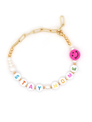 ZZ B200072D Stainless steel Imitation Pearl Multi Color Letter Minimalist Bracelet
