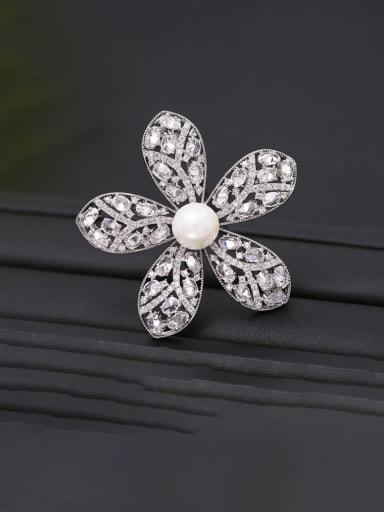Platinum+ white Brass Cubic Zirconia Flower Statement Brooch
