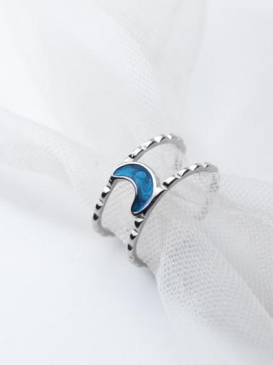 925 Sterling Silver Enamel Moon Minimalist Stackable Ring