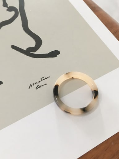 Beige Cellulose Acetate Geometric Minimalist  men and women Melange ring
