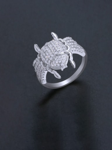 Steel Brass Cubic Zirconia Insect Luxury Band Ring