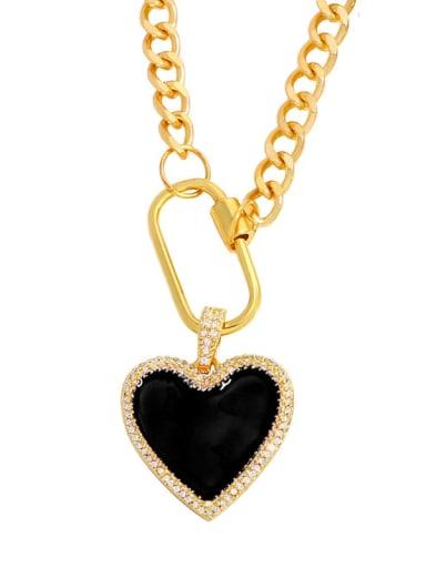 black Brass Enamel Heart Minimalist Necklace
