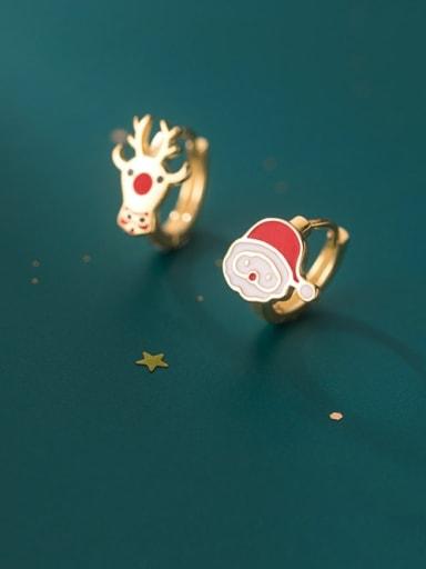 925 Sterling Silver Enamel Irregular Vintage Stud Earring