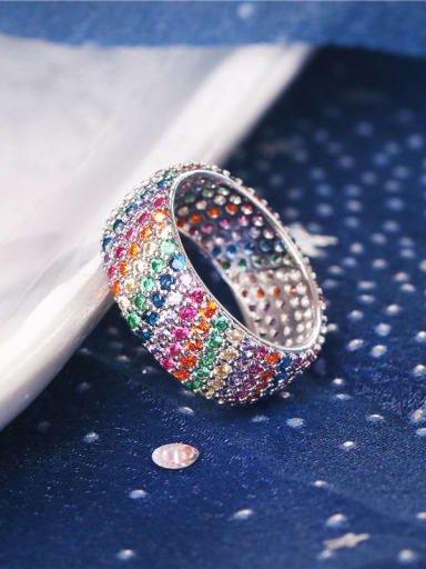 Mixed color Brass Cubic Zirconia Geometric Minimalist Band Ring