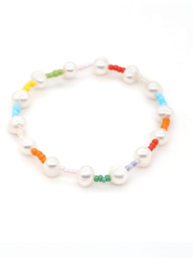 Imitation Pearl Multi Color Round Minimalist Beaded Bracelet