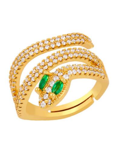 green Brass Cubic Zirconia Snake Luxury Stackable Ring