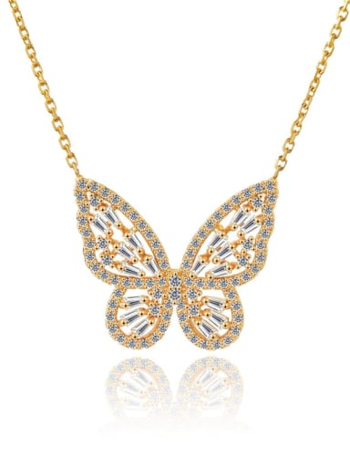 Brass Cubic Zirconia Butterfly Dainty Necklace