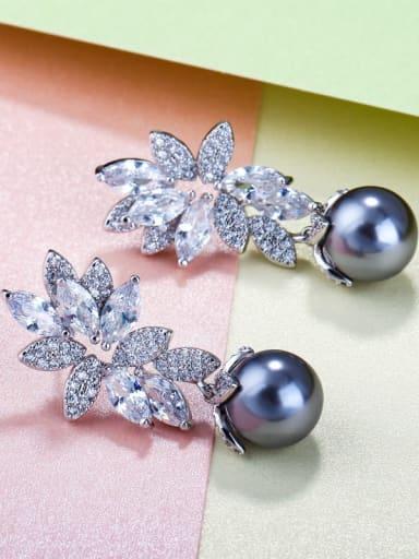 Single Earring Brass Cubic Zirconia Luxury Flower Earring and Necklace Set