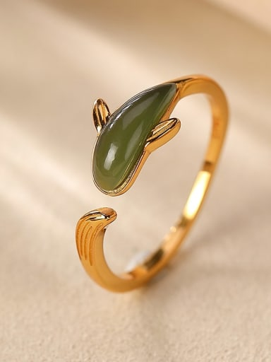 925 Sterling Silver Jade Dolphin Vintage Band Ring