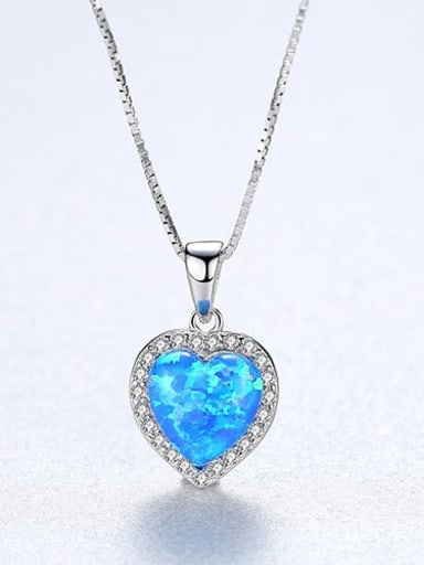 Blue 20F06 925 Sterling Silver Opal Multi Color heart Necklace