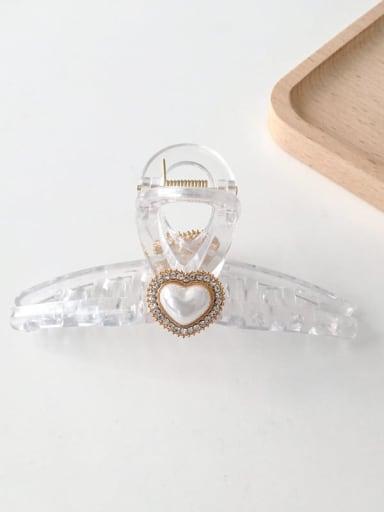 Transparent heart 11cm Alloy Rhinestone Plastic Vintage Geometric  Jaw Hair Claw