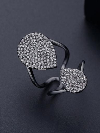 black T18I14 Copper Cubic Zirconia Geometric Luxury Band Ring