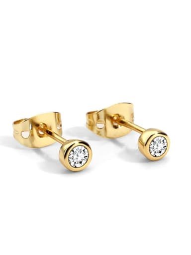 White Diamond Earrings Brass Rhinestone Geometric Minimalist Stud Earring