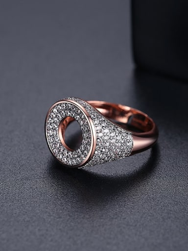 White zirconium t17a19 Brass Cubic Zirconia Geometric Minimalist Band Ring