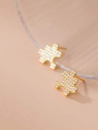 gold 925 Sterling Silver Cubic Zirconia Geometric Minimalist Stud Earring