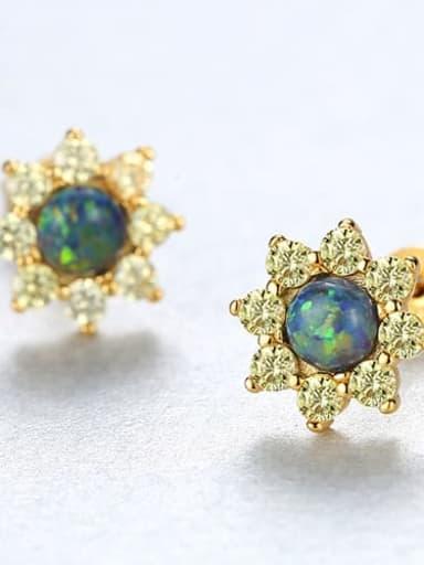 Green 18e03 925 Sterling Silver Opal Flower Classic Stud Earring