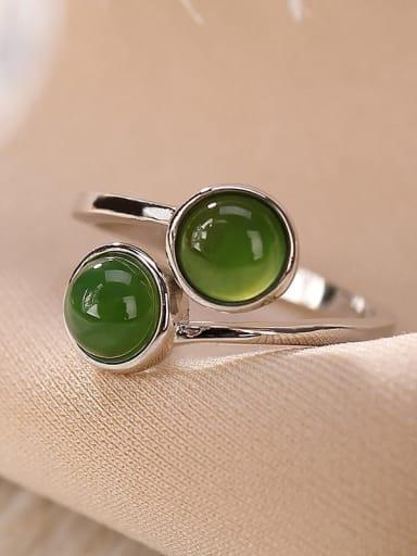 925 Sterling Silver Jade Irregular Vintage Band Ring