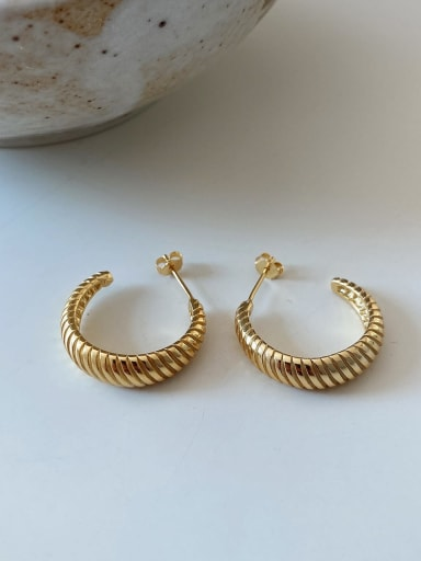 925 Sterling Silver Geometric Vintage Hoop Earring (Single)