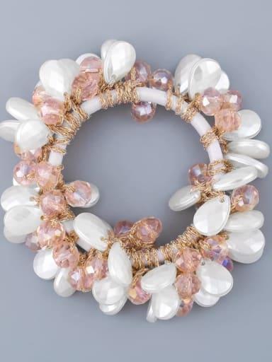 Pink Alloy Imitation Pearl Bohemia Geometric Hair Rope