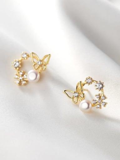 925 Sterling Silver Rhinestone Flower Dainty Stud Earring