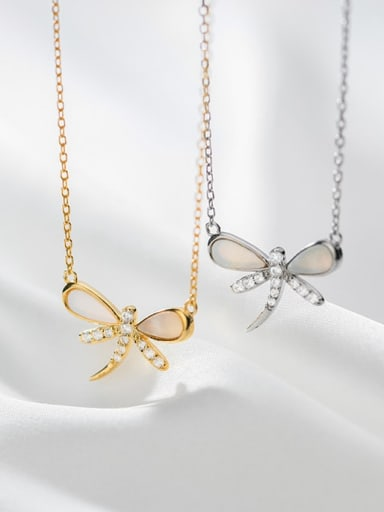 925 Sterling Silver Shell Dragonfly Minimalist Necklace