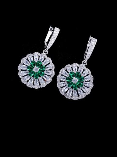 green Brass Cubic Zirconia Geometric Luxury Cluster Earring