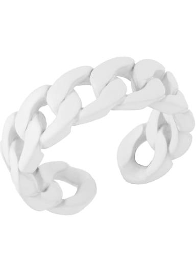 white Brass Geometric Hip Hop Band Ring