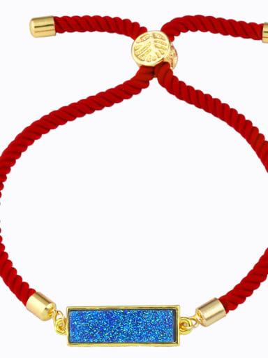 Red rope light blue Red rope Geometric Minimalist Adjustable Bracelet