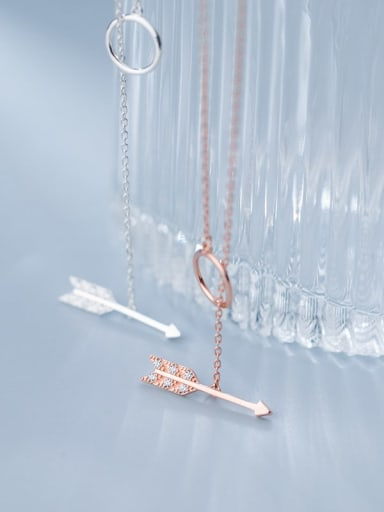 925 Sterling Silver Cubic Zirconia Anchor Minimalist Necklace