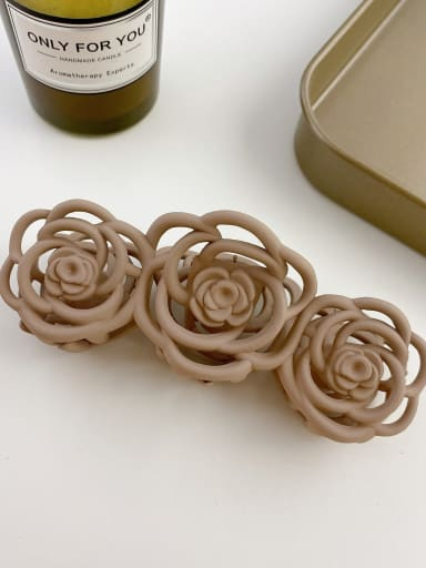 Light brown 10.8cm Alloy Resin Trend Hollow Flower  Jaw Hair Claw