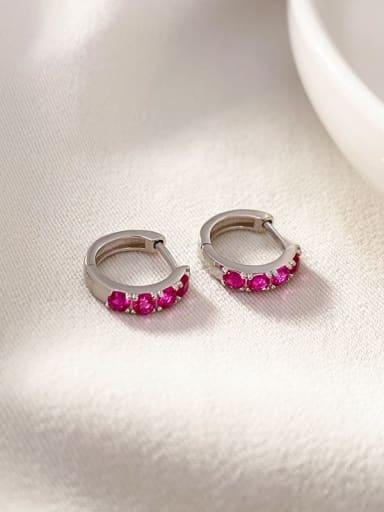 Platinum 925 Sterling Silver Rhinestone Geometric Vintage Huggie Earring