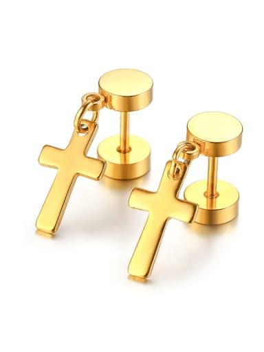 golden Stainless steel Cross Minimalist Drop Earring